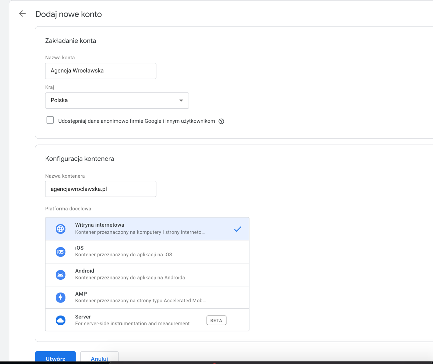 nowe konto google tag manager