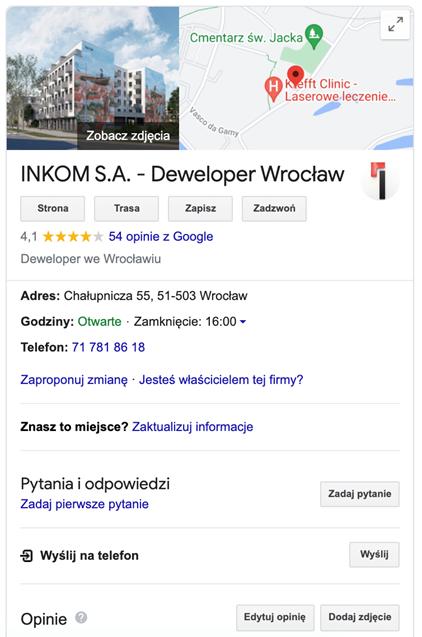 wizytówka google deweloper